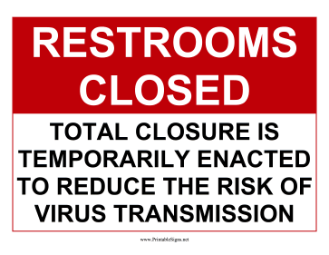 Restrooms Temporarily Closed Sign