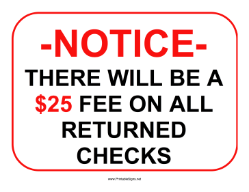 Returned Checks 25 Dollars Sign