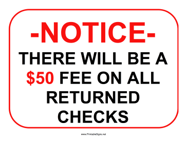 Returned Checks 50 Dollars Sign