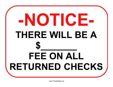 Returned Checks Blank Sign