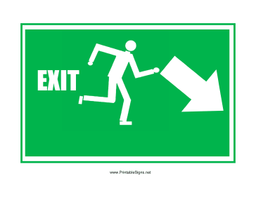 Run Man Exit Down Right Sign
