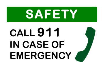 Safety Call 911 Sign