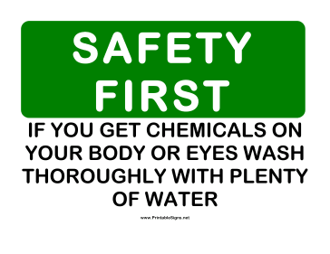 Safety Chemicals Sign