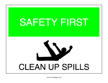 Clean Up Spills Sign