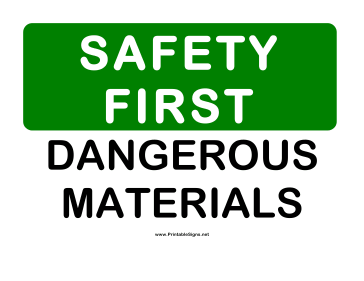 Safety Dangerous Materials Sign