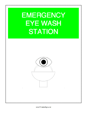 Emergency Eye Wash Station Sign