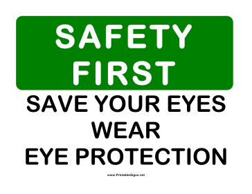 Safety Eye Protection Sign