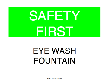 Eye Wash Fountain Sign