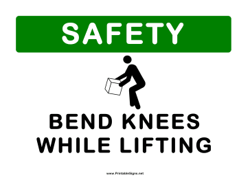 First Bend Knees Sign