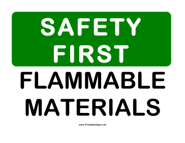 Safety Flammable Material Sign
