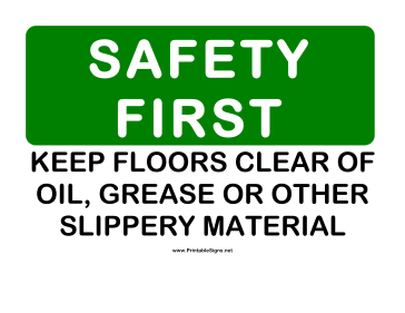 Safety Keep Floors Clear Sign