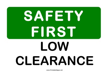 Safety Low Clearance Sign