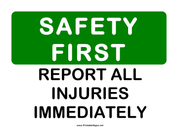 Safety Report All Injuries 2 Sign