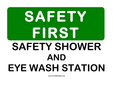 Safety Shower and Eyewash Sign