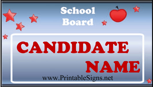 School Board Sign Palm Cards Sign