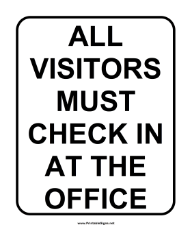 School Visitor Sign Sign
