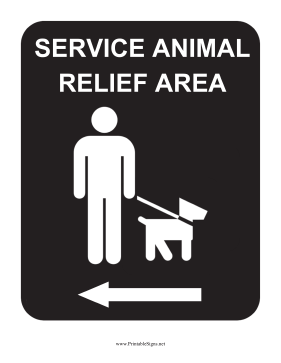 Service Animal Relief Area Left Sign