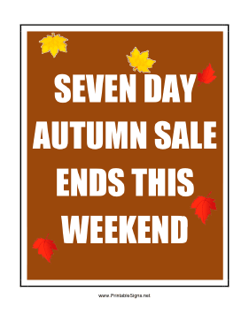 Seven Day Autumn Sale Sign
