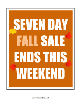 Seven Day Fall Sale Sign