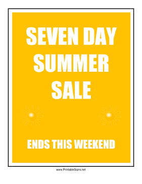 Seven Day Summer Sale Sign
