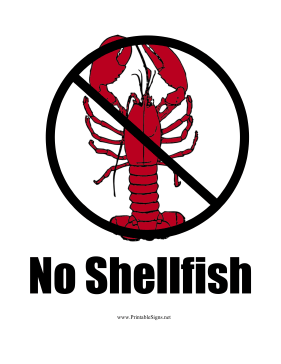 Shellfish Allergy Sign