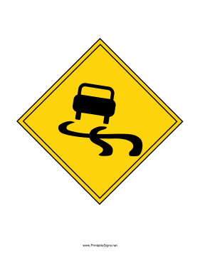 Slippery Road Sign Sign