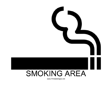 Smoking Area with caption Sign
