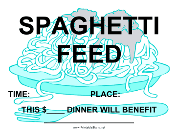 Spaghetti Feed Fundraiser Sign