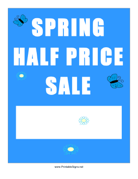 Spring Half Price Sale Sign