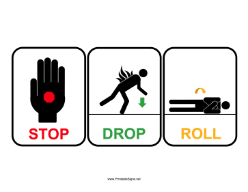 Stop Drop Roll Sign