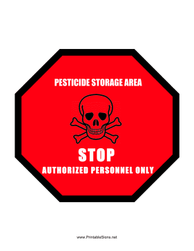 Stop — Pesticide Storage Area Sign