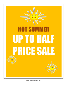 Summer Half Price Sale Sign