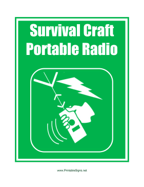 Survival Craft Portable Radio Sign