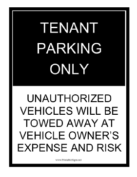 Tenant Parking Tow Warning Black Sign