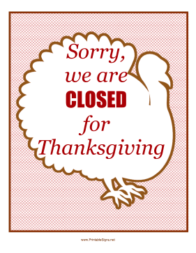 photo relating to Thanksgiving Closed Sign Printable named Printable Thanksgiving Shut Signal Indication