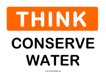 Think Conserve Water Sign