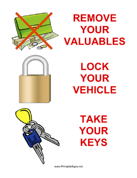Three Steps to Secure Your Vehicle Sign