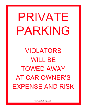 Tow Warning Private Parking Sign