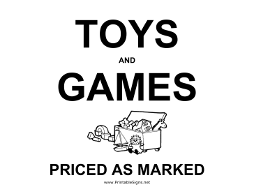 Toys Yard Sale Sign