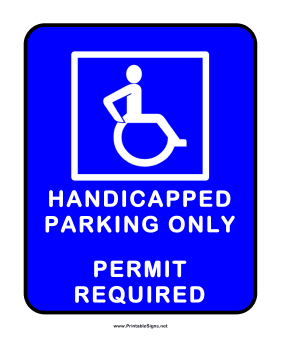 Handicapped Parking With Permit Sign