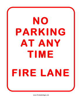 No Parking Firelane Sign