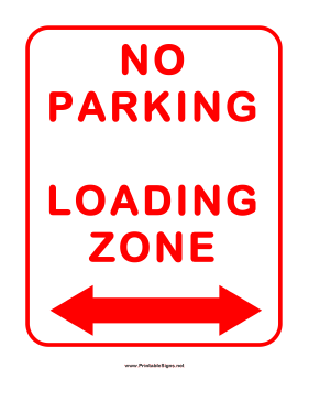 No Parking In Loading Zone Sign