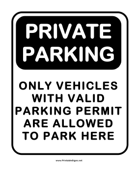 Notice Private Parking Sign