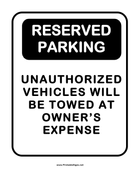Printable notice reserved parking sign for Reserved parking signs template
