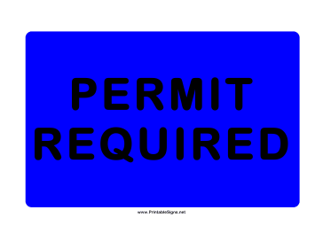 Permit Required Blue Sign
