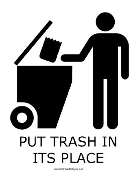 photograph regarding Trash Sign Printable named Printable Trash Inside of Its Stage with caption Indication