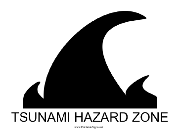 Tsunami Hazard Zone with caption Sign