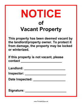 Vacant Property Notice Sign