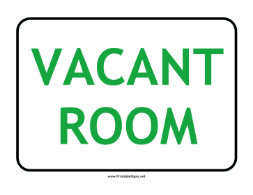 Printable Vacant Room Sign