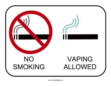 Vaping Allowed Sign Sign